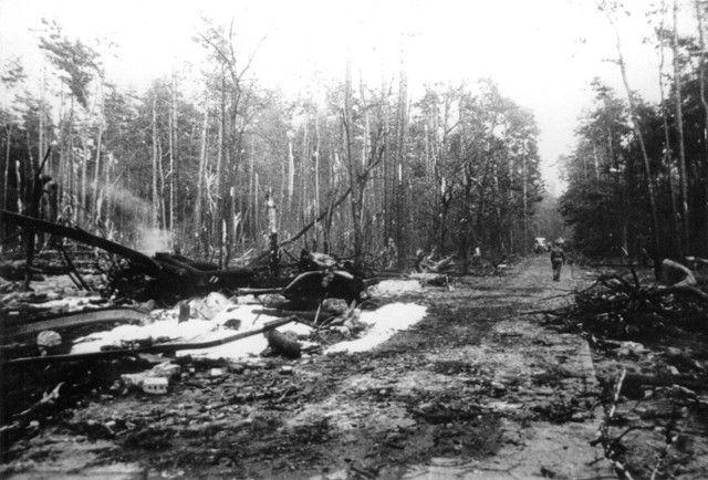 Po pożarze w 1. dt OP m. Książenice.