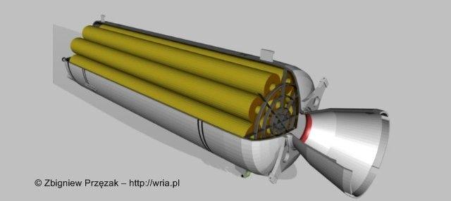 Przekrój silnika startowego rakiety PZR S-75M Wołchow z widocznymi laskami prochowymi.