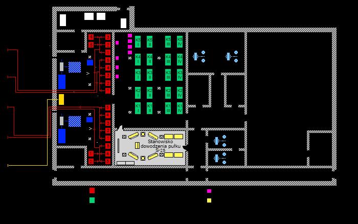 Rozmieszczenie aparatury CSNR B–200MR w schronie.