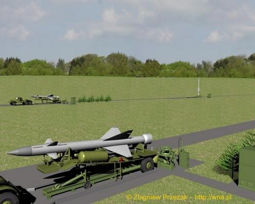 Załadunek rakiety W-300 PZR S-25 na stół startowy (etap I)