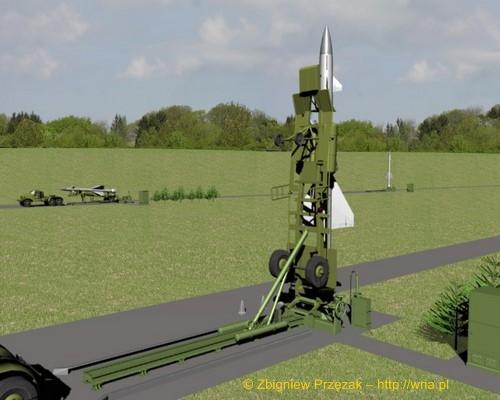 Załadunek rakiety W-300 PZR S-25 na stół startowy (etap III)