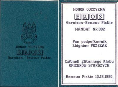 Okładka i pierwsza strona legitymacji członka EKOS.