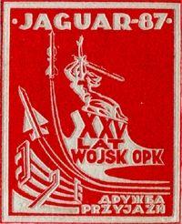 """Emblemat ćwiczeń pod kryptonimem """"Jaguar-87""""."""